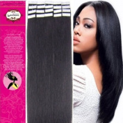 41cm Colour 1b-black with Brown Tape in Premium Remy Human Hair Extensions_20 Pieces Set_30g Weight Straight Women Beauty Salon Style Design