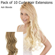 Ash Blonde Curly 46cm Clip in Full Head Hair Extensions | Pack of 10 Curly Clip in Extensions |
