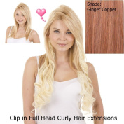 Ginger Copper Curly 46cm Clip in Full Head Hair Extensions | Pack of 10 Curly Clip in Extensions |
