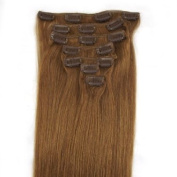 "15 inch (Col12).Golden blond Brown Full Head 7 PCS Clip in Remy 100% Human Hair Extensions. 18""20""22""all colours 70g Weight"