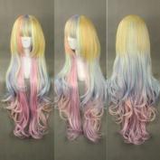 Ruler Harajuku the Gradient Rainbow / Ice Cream Long Curly Hair Lolita Daily Anime Cosplay Wig Rl-016