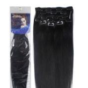 Silky straight 100% human hair - 46cm Clip in Human Hair Extensions, 10pcs, 100g, Colour #1