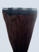 46cm One Long Piece Clip In Human Hair Extensions, 4 clips, #2 Darkest Brown