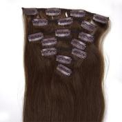46cm 7pcs Clips-in hair 70g remy Human Hair Extensions #04 Medium Brown