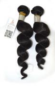 """Best-Buy-Box Hair 2 Bundles set Loose Wave Brazilian Virgin(Remy) Hair Extension 200 Gramme 12""""-80cm (12,14,16,18,20,22,24,26,70cm ) Natural Colour #1B Black"""