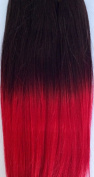 Dip Dye hair extensions 180cm Weft (full head) - 36cm Dark Brown with Fire Red Ends