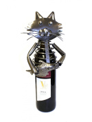 Metal Wine Bottle Holder - Cat with Fish