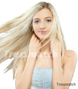 50cm (60cm ) Remy Human Hair Clip in Extensions Platinum Blonde (Colour #60) 9 Pieces Full Head Set 120ml