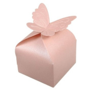 30pcs Butterfly Pattern Pearl Paper Wedding Party Favour Gift Candy Box,wine red