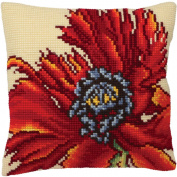 Extravagante Poppy Pillow Cross Stitch Kit-38cm - 1.9cm x 40cm
