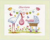 Counted Cross Stitch Kit - Birth - Stork And Pram