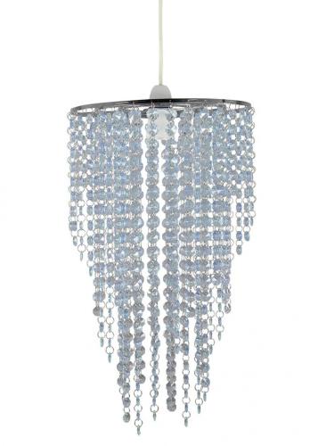 blue acrylic beaded chandelier pendant with chrome
