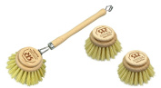 Large Natural Bristle Dish Washing Brush and 2 x Replacement Brush Heads - Stiff Plant Fibre