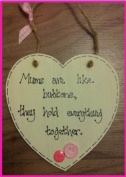 Mums are Like Buttons Mum Gift Shabby Chic Handmade Wooden Heart Plaque Mothers Day Birthday