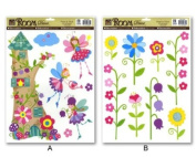 FLOWER FAIRY Childrens Wall Stickers, for Girls Bedroom, Childrens Playroom or Babies Nursery,