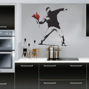 Banksy Flower Thrower - Wall Decal Sticker lounge living room bedroom