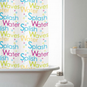 Bright Pink lime Words 180cm Long PEVA Shower Curtain Screen + 12 C Shaped Rings