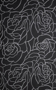 QUALITY (105GSM) BLACK WITH WHITE ROSE LINE FLORAL TEXTILE EXTRA LONG SHOWER CURTAIN WITH WEIGHTED HEM AND FREE RINGS 180CM (W) X 200CM
