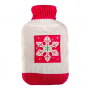 Thermotherapy Hot Water Bottle Cream & Red Knitted Sweater Cover With Snowflake