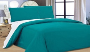 Teal / White Reversible Duvet Quilt Cover With Fitted Sheet Complete Bedding Set AVAILABLE IN 6 COLOURS, KING
