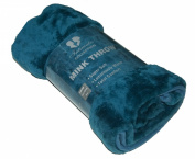 Mink Faux Fur Throw Teal 150x200, Large 2 Seater Sofa / Bed Blanket