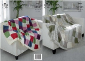 King Cole Multi Coloured Afghan Throw Knitting Pattern 3457