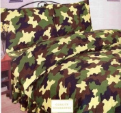 Viceroybedding Army Khaki Camouflage Single Duvet Cover and Pillowcase