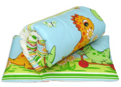 2 Piece Quilt & Pillow Bedding Set 120 x 90 cm For Cot / Cot Bed - Animal Print - Dino Green