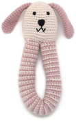 Pebble Organic Cotton Bunny Rattle - dusky pink