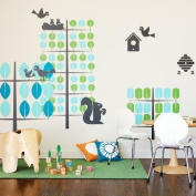 Boodalee Wall Stickers Teal & Green Trees Wall Stickers