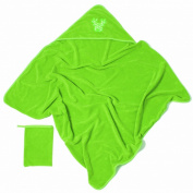 Baby Boum Pop Hooded Bath Towel and Wash Mitt - Punch Green