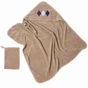 Baby Boum Pucci Hooded Bath Towel and Wash Mitt - Cacao