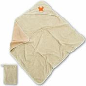 Baby Boum Gimik Hooded Bath Towel and Wash Mitt - Sesame