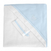 Red Castle Hooded Towel and Wash Mitt White/Light Blue
