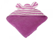 Silly Billyz 17551 Hooded Bath Towel Organic Cotton 128 cm x 130 cm Striped Raspberry / Plain