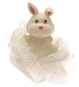 Rabbit bath sponge in white