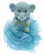 Elephant bath sponge in blue