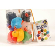 NEW 12 COLOURED FLOATING DUCKS IN A TUB. FUN BABY BATH TOY!!