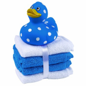 My First Rubber Duck (Blue) with 4 washcloths