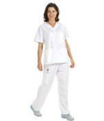 Unisex Premium Quality 5-Pocket Scrub Sets In White Size M The Very Best Money Can buy