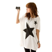 Trendy Ladies Long Loose Tops Batwing Dolman Sleeve T shirt Casual Star Blouse