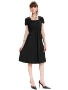 Short Sleeve Front Gathered Maternity and Nursing Dress Black UK size 14-16