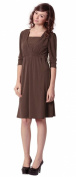 Front Gathered Maternity and Nursing Dress Brown UK size 16-18