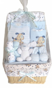 Bee Bo Baby Basket Gift Set 0 - 3 Months - Puppy Dog, Wrap, Bodysuit, Trousers, Bootees, Bib, Wash & Burp Cloths - Blue