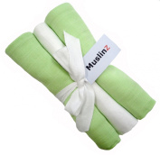 Pack of 3 Muslinz Premium High Quality Muslin Squares / Wraps 100% Cotton in Gift Ribbon - Green, White, Green