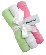 Pack of 3 Muslinz Premium High Quality Muslin Squares / Wraps 100% Cotton in Gift Ribbon - Pink, White, Green