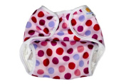 Nature Babies Classic Wrap Washable Nappy with Popper Fastening - Purple Spots Print