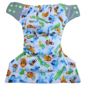 Bambungle, Reusable Bamboo Cloth Nappy | One size fits all | Made with natural charcoal bamboo cloth | A very soft gentle and durable inner lining with double leak guard protection | Washable & eco-friendly | Two super absorbent microfibre ..