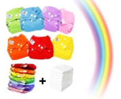 7x Adjustable, Colourful and Washable Baby Nappies + 7 Inserts / One size design