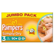 Pampers Simply Dry Size 3 (4-9kg) Jumbo Box Midi 90 per pack